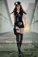 Imitation leather/police uniform temptation/take/shooting game take nightclub take photo take/stewardess clothing