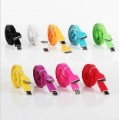 Free shipping CN 5pcs/lot New Arrival colorful flat noodle usb sync charger/data cable for iphone 4 4s 3gs for ipad 2 3