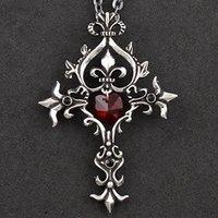steam punk goth cross pendant necklace
