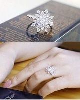 Min order is 20 $(Mixed order)Snowflakes set auger ring  Free shipping South Korea fair maiden style