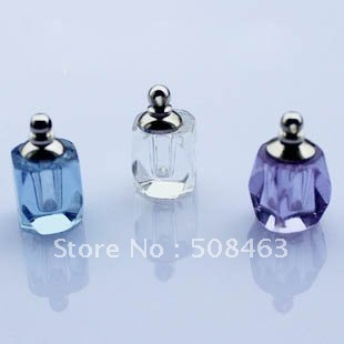 Ship Free! 300pcs #15 Crystal long rhombus Miniature Perfume vial bottle Screw Cap(China (Mainland))