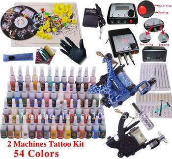 Professional Tattoo Kit Set 54 color Inks Power 2 Guns D100 + 2 Free Razors