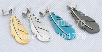 Fashion Feather 316L Titanium Stainless Steel Men's Pendant Necklace 4 colors Jewellery accessory 12pcs/lot