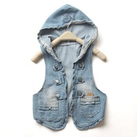 2012 new 2012 summer women's hooded water wash denim vest free shipping