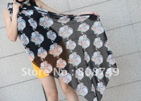 2012 new style hot sale 10pcs/lot three colors chiffon perfect skeleton and flowers long scarf/shawls/prevent bask shawls