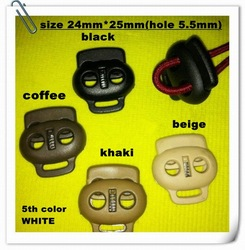black, white, coffee, beige, khaki 5 colors Toggles Cordlock toggle clip spring stopper in nylon material, 500 pcs/lot (LN134)(China (Mainland))