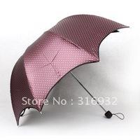 Free Shipping 3 folding  Anti ultraviolet arch Princess Manual umbrella, dot printed, 1pc