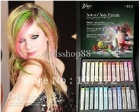 Free shipping EMS  Fashion 20Sets Hair Color ChalkTemporary color Hair Chalk Fun Fast Soft Pastels 24Pieces/set