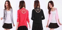 New Fashion Women Long Knit Casual Career Cardigan Sweater Bacl Hollow out