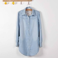 Autumn and winter medium-long long-sleeve denim shirt pearl buckle women's long-sleeve shirt outerwear shirt