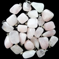 (Min.order 10$ mix) New arrival !wholesale 10pcs rose quartz tumble pendant bead