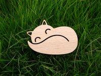 sleeping and smile fox wood brooch