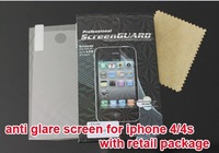 200pcs/lot wholesale Anti-glare Matte front Screen Protector Protection Guard Film For Iphone 4 4G 4s,With retail Pack