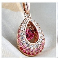 new 2014 gem crystal hollow out drop gold pendant necklace  woman jewelry accessories