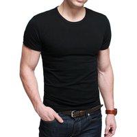 Super cool high elastic lycra 100% cotton shirt solid color o-neck short-sleeve T-shirt fitness big size xxl