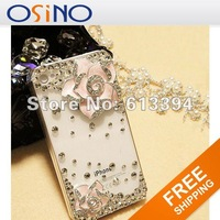 Cheapest Colorful Camellia Flower Diamond Bling Hard Case Cover Skin for iPhone 4/4S