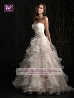 AWB0623 2012 Latest Lace Corset Beaded Organza Ruffles Wedding Dress