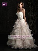 AWB0623 2012 Latest Lace Corset Beaded Organza Ruffles Wedding Dress