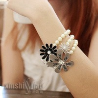 The rose flower three pearl bangles woman bracelets