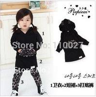 baby 3pcs sets for spring fall 5pcs/lot wholesale black hoodies + tutu skirt + leopard leggings classy clothing sets kids suits