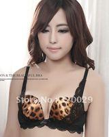 U-Leopard lingerie sexy lace women bra push up bra Adjustable underwear Free shipping