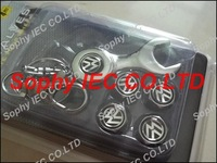 1set Spanner wrench tire valve caps with Black VW Volkswagen car logo 4pcs caps+1pc wrench
