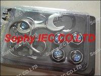 1set Spanner wrench tire valve caps with Black Subaru car logo 4pcs caps+1pc wrench