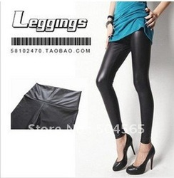 IRIS Knitting LG-108 Free Shipping Women PU Leather Black Shiny Leggings High-waist Stretch Material Pants Ladies Fashion Tights(China (Mainland))