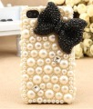 Luxury Handmade 3D Bling Bow Pearl Diamond Crystal Case For iPhone 4/4S/4G