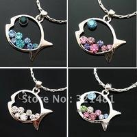 20pcs/lot Fashion Jewelry Rhinestone Crystal diamond Fish Pendant Necklace Free Shipping sweater chain NL003
