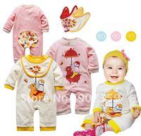 6 sets/lot New cool elevs Cute Baby Rompers Boy/Girl's Long Sleeve Romper+Baby bibs Kids Cotton Romper 2-Piece Suit