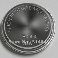 10 pcs/lot rechargeable LIR2450 3.6V Li-ion coin battery button battery cell battery