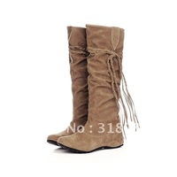 2012 high sleeved suede women's boot female's shoes,fringed boots, elevated  knights boots  pink,yellow,brown,beige,black 34-43