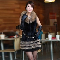 Free Shipping by EMS/DHL, Newest, women, rabbit_fur, raccoon_fur collar,  female, jacket,  fur vest