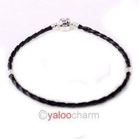Nice Cheap Fashion LEATHER BRACELETS BLACK BRAIDED CHARMS CLASP BRACELETS Fit Jewelry Finding DIY Black 16cm  152122