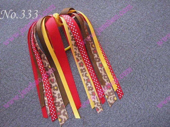 free shipping 300pcs Newst fashion Pony O Hair Bow Ponytail Streamers mix color ponytail holders(China (Mainland))