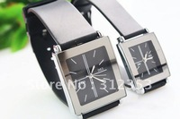 Free ship 5 pairs couple watch with box,  digital watch Square for lowers leather bend ,mix order is available