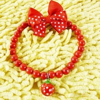 Free shipping!HOT sell  Cute strawberry bell elasticity dog collar pet necklace pet grooming 6pcs/lot