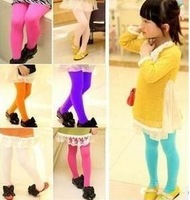 Child velvet candy color child legging elastic pantyhose dance socks female Children tights free shipping