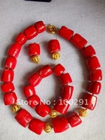 New Design Flower Red Coral jewelry set necklace bracelet and earrings for African wedding party bridal dressing