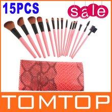 3sets/lot 15PCS Professional Make Up Makeup Brushes Tools Cosmetic Brush Set Eyebrow Comb with Roll up Snake  Bag(China (Mainland))