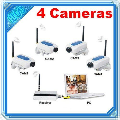 4CH 4X Digital wifi Camera Wireless Security System Surveillance USB Receiver Free Shipping&Dropshipping(China (Mainland))