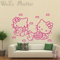 Free Shipping hello kitty home decoration for girls room wall stickers home decals  vinyl wallpaper for children