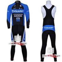 Free shipping! GIANT 2011 bib long sleeve cycling jerseys wear clothes bicycle/bike/riding jerseys+bib pants