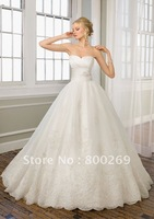 2012 Real Picture Organza Sweetheart Applique Wedding Dress/Bridal Gown sl-1657