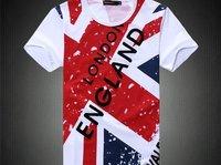 White color short sleeved 100% cotton shirt  UK Flag men sport shirt new design Men tops tees shirt 2012