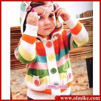 3 pieces / LOT Baby Hooded Rainbow Stripe Colorful Cardigan Kid's 100% Cotton Jersey Knitwear Warm Keeper Outwear Wholesale