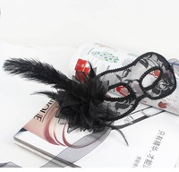 FREE SHIPPING!!!Pure manual Venice mask,  yarn flowers, feathers, dancing party translucent ostrich feather mask with flowers