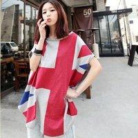 2012 New Arrival Fashion Cotton bat tops UK Flag Women T shirt tees shirts for lady free shipping TS14