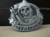 Sons of Anarchy belt buckle SOA SAMCRO silver pewter skull harley cycle